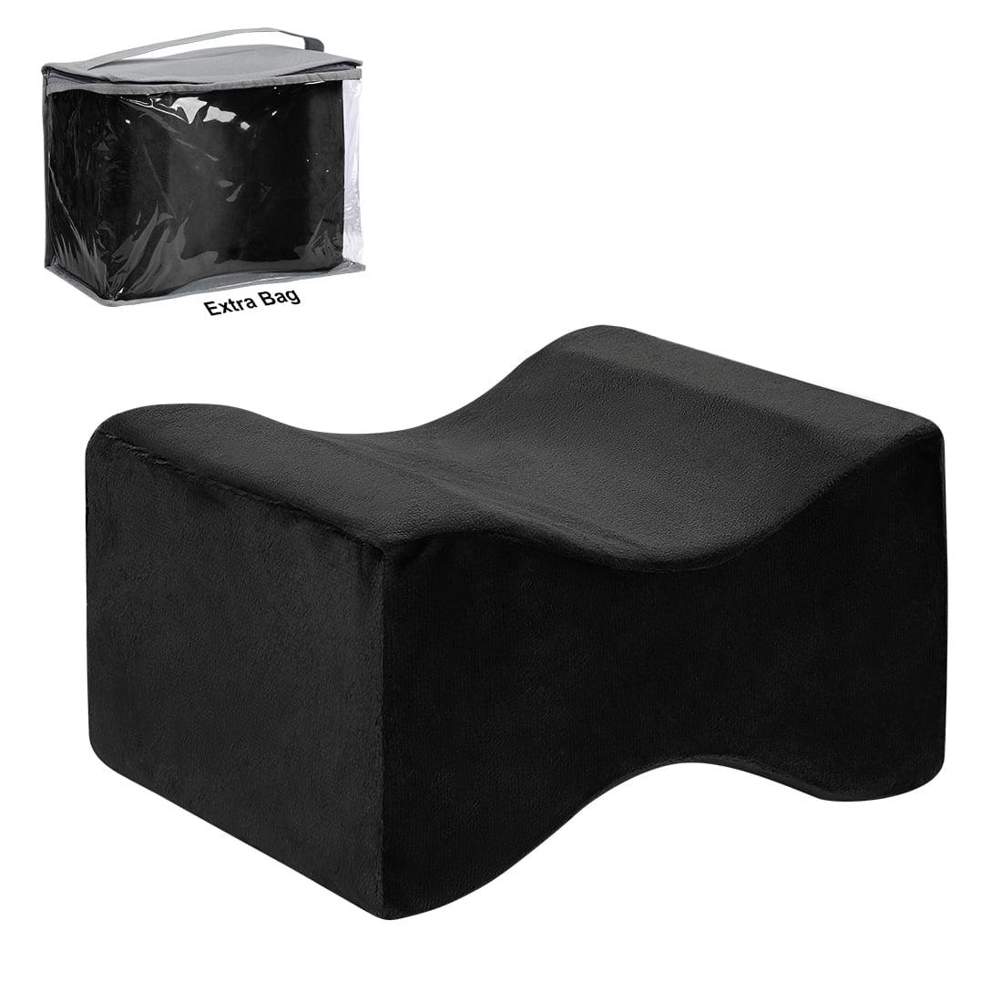 contoured memory foam knee leg support pillow cushion for side sleeping black