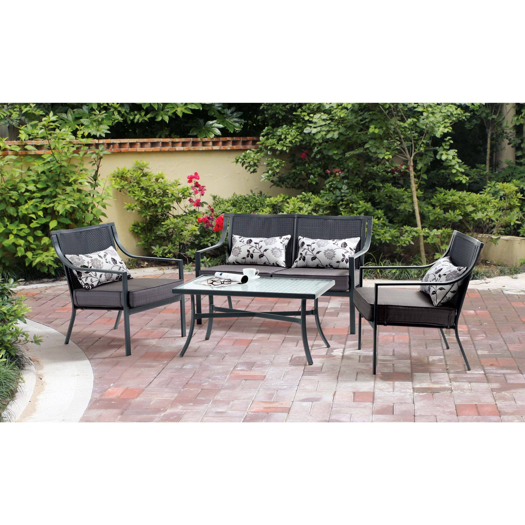 mainstays alexandra square 4 piece patio conversation set grey with leaves seats 4 with gray cushions walmart com