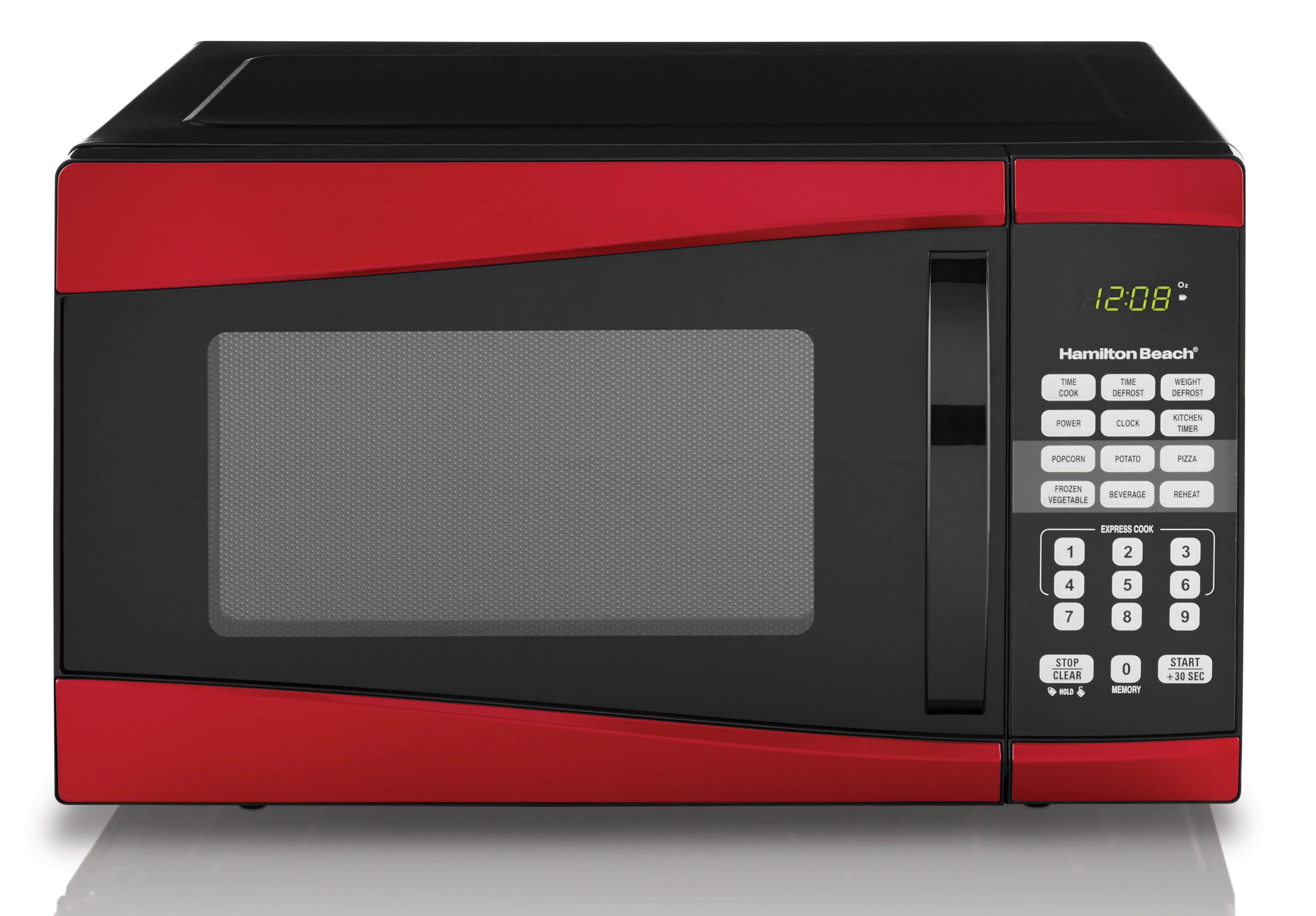 hamilton beach 0 9 cu ft 900w red microwave walmart com walmart com