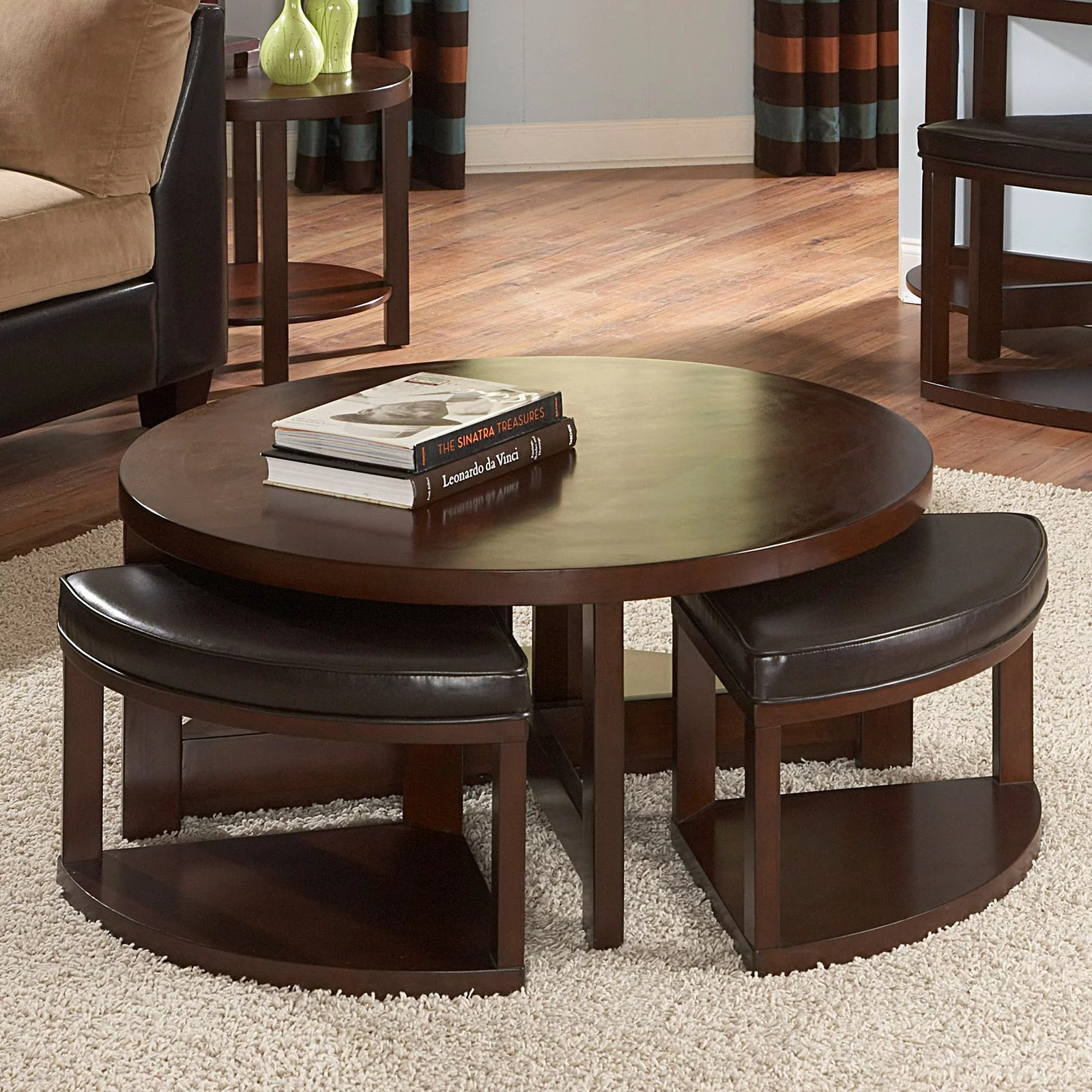 weston home brussel ii round brown cherry wood coffee table with 4 ottomans walmart com