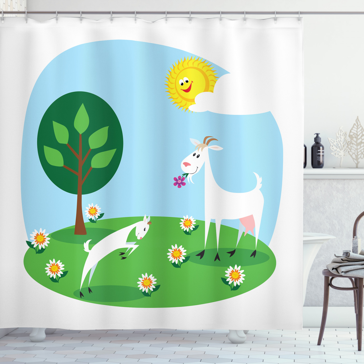 goat shower curtain cartoon goat and his baby playing in the meadow eating daisy plants on a sunny day fabric bathroom set with hooks 69w x 75l