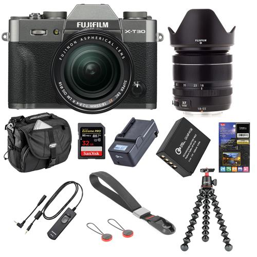 Fujifilm X-T30 Mirrorless Camera with XF 18-55mm f/2.8-4 R LM OIS Lens Charcoal Silver - Bundle With 32GB SDHC Card, Joby GorillaPod 3K Kit, Camera Ca