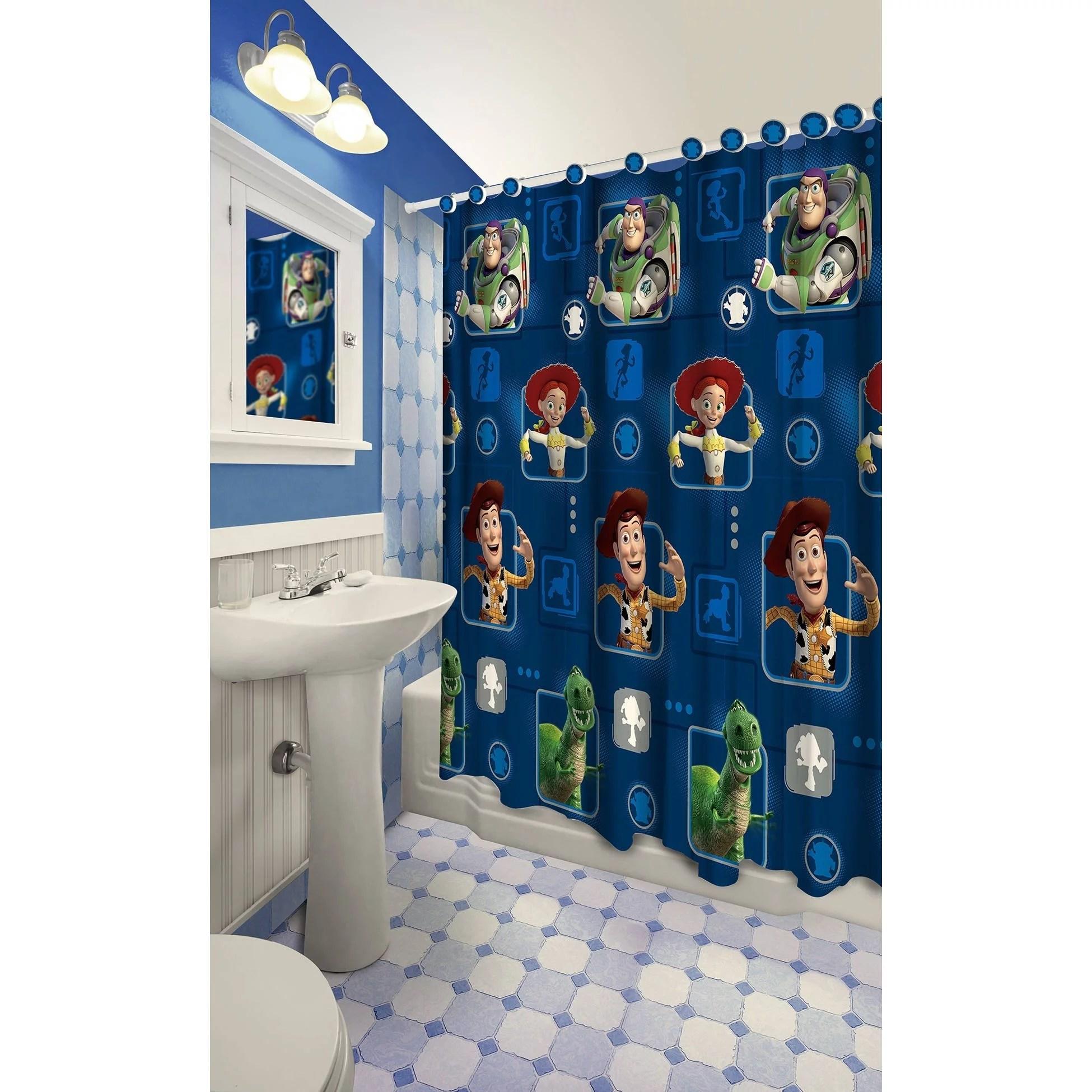 disney pixar toy sory 13 piece shower curtain set 1 curtain 12 hooks