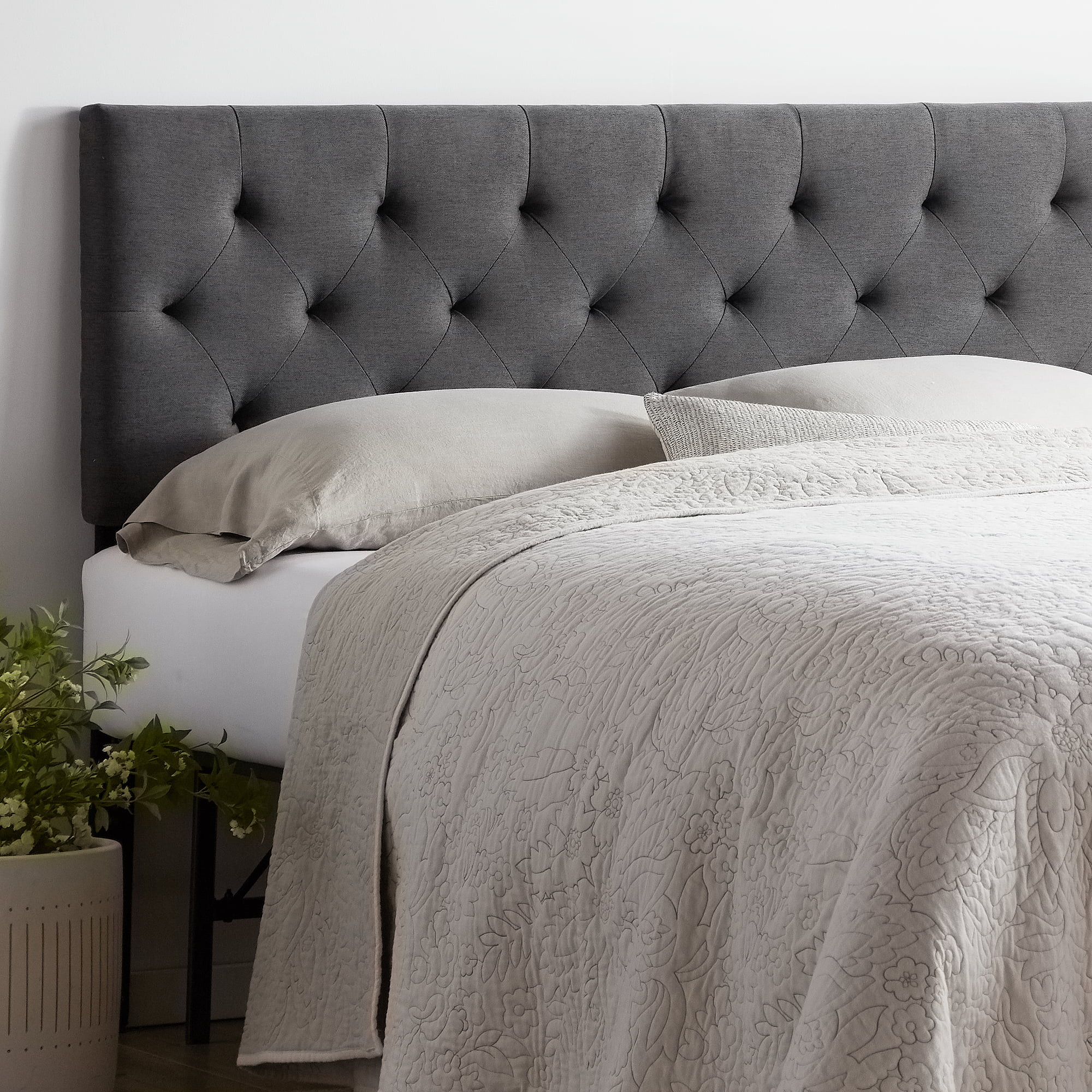 rest haven upholstered diamond tufted mid rise headboard queen charcoal