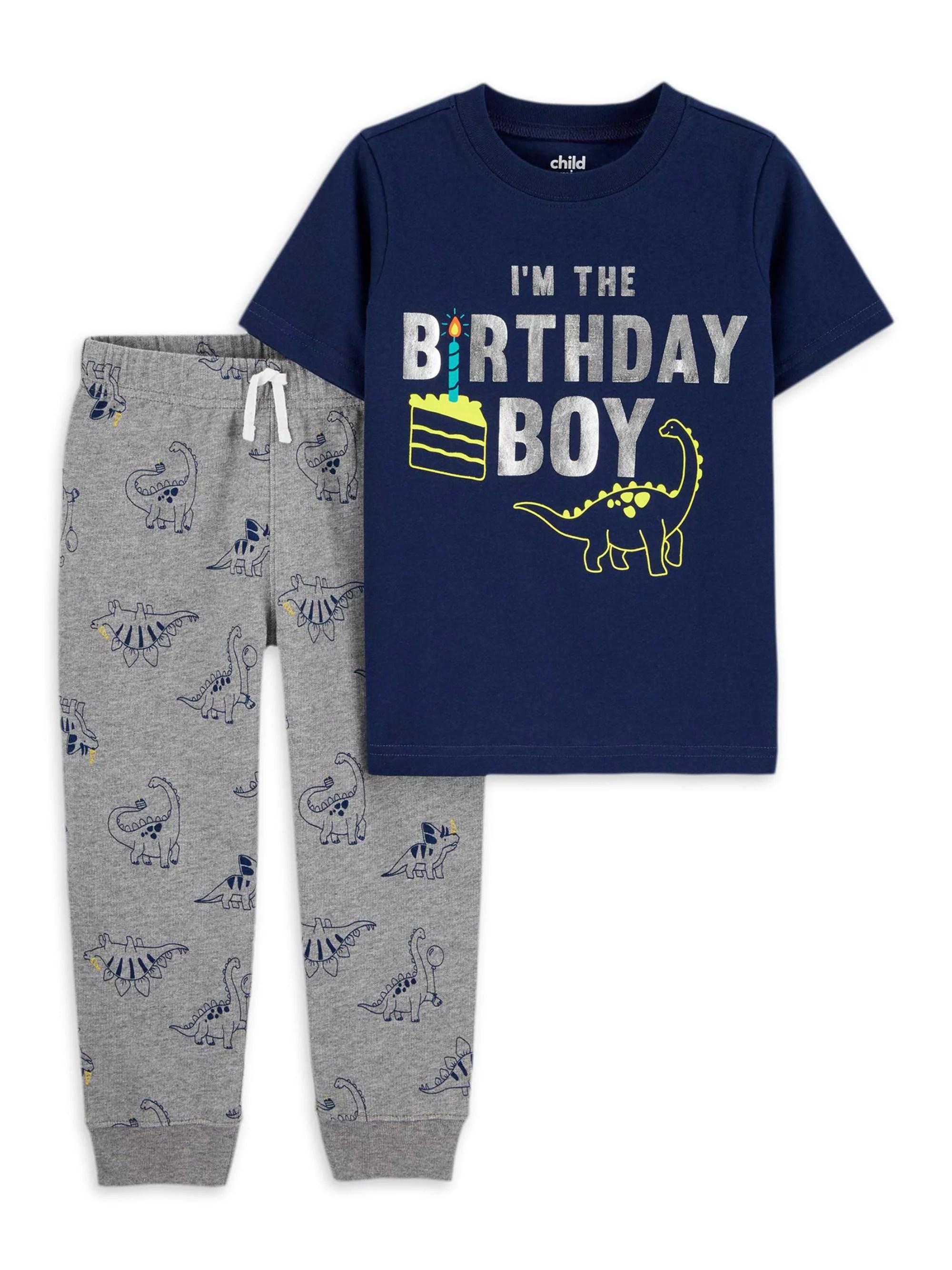 Child Of Mine By Carter S Child Of Mine By Carter S Baby Boy Toddler Boy Birthday Short Sleeve T Shirt Pants Outfit Set 2 Piece 12m 4t Walmart Com Walmart Com