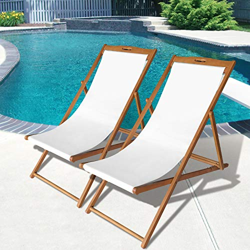 beach sling chair set patio lounge chair outdoor reclining beach chair wooden folding adjustable frame solid eucalyptus wood with white polyester