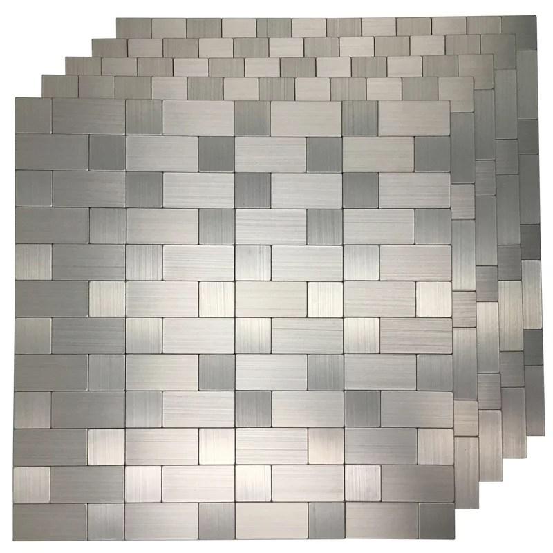 art3d peel and stick backsplash tile brushed silver bathroom kitchen tile 12 in x 12 in 5 pack