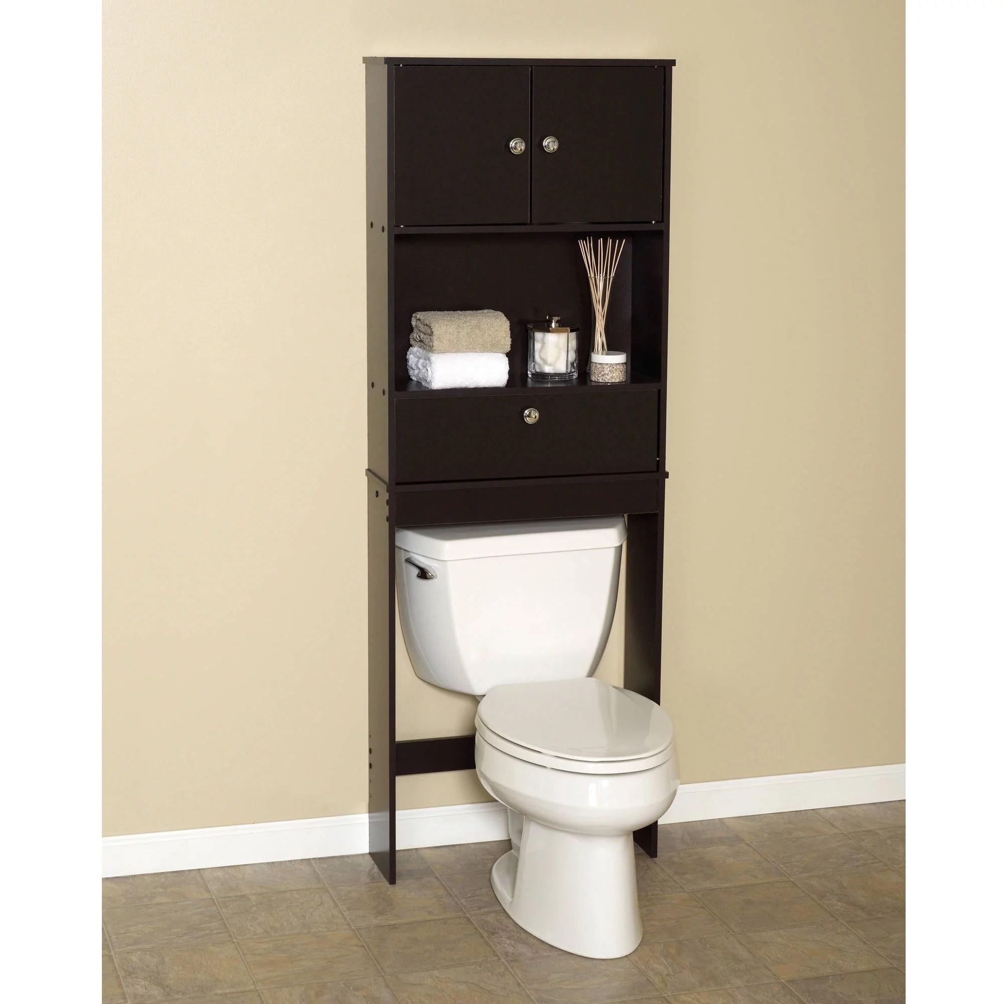 zenna home drop door over the toilet bathroom storage space saver with 2 door cabinet espresso