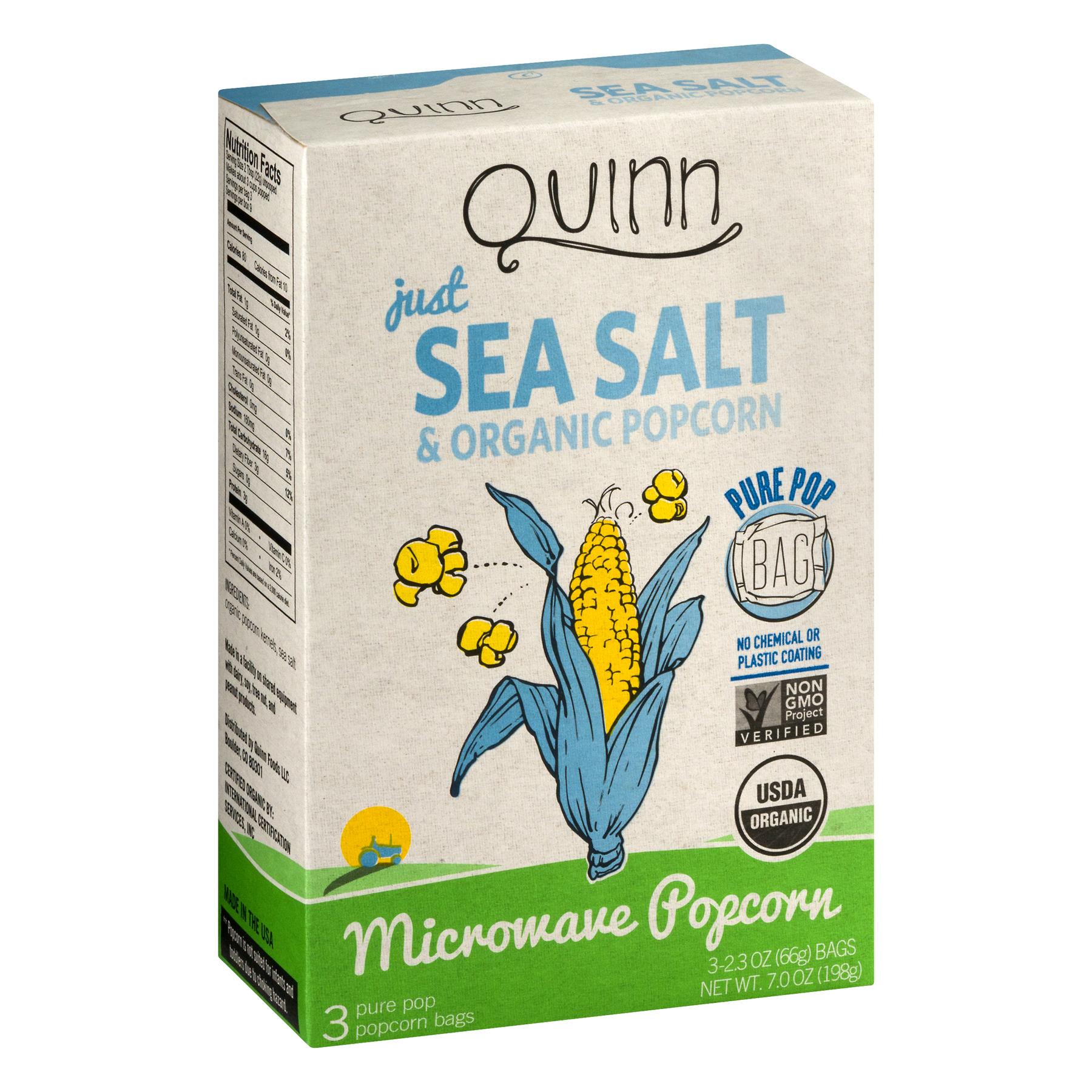 quinn snacks microwave popcorn just sea salt organic popcorn 2 3 oz
