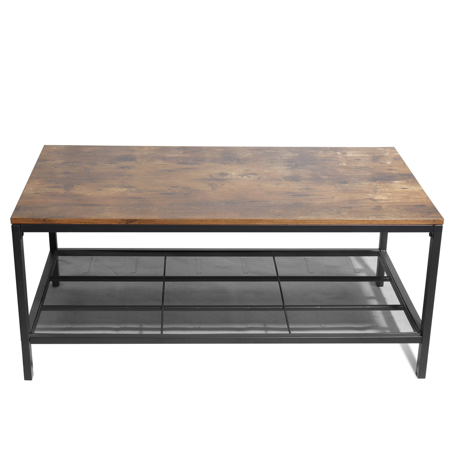 segmart farmhouse coffee table solid wood cocktail table with storage mesh shelf rectangular tea table with frosted black iron frame for living