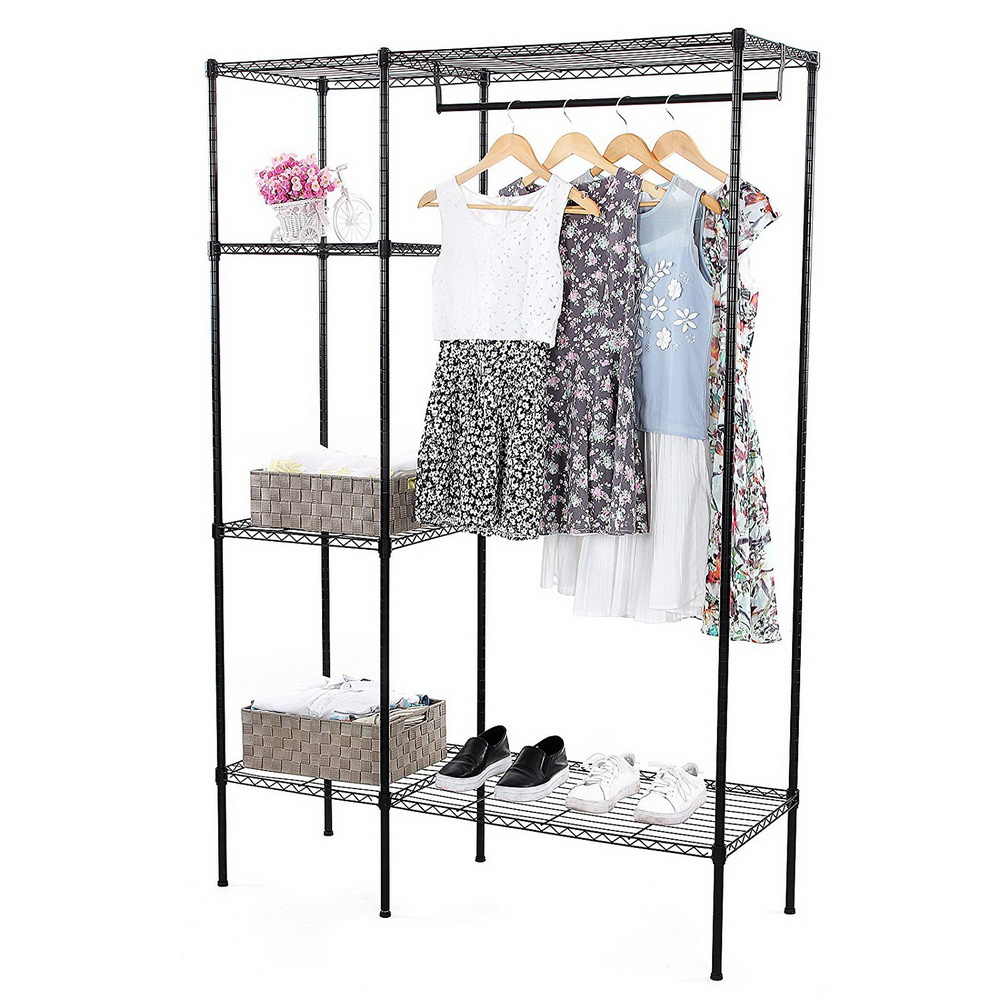 clothes rack with shelves wire shelving 4 shelf garment rack heavy duty home closet organizer with hanging rod portable freestanding clothes