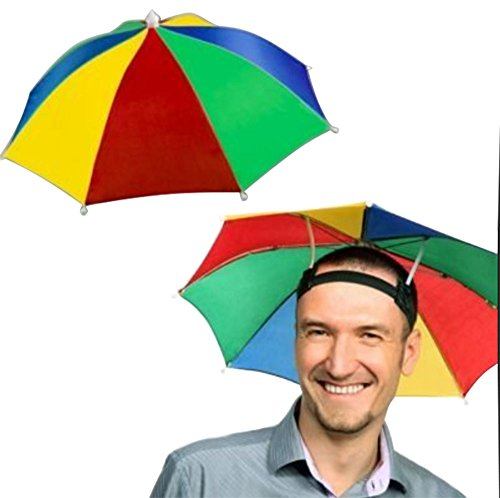 4 Pack Rainbow Umbrella Hat Cap Hands Free With Head Strap For Sun Rain Walmart Com Walmart Com