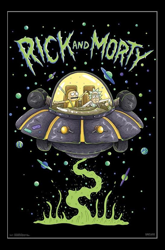 rick and morty ship laminated poster print 22 x 34