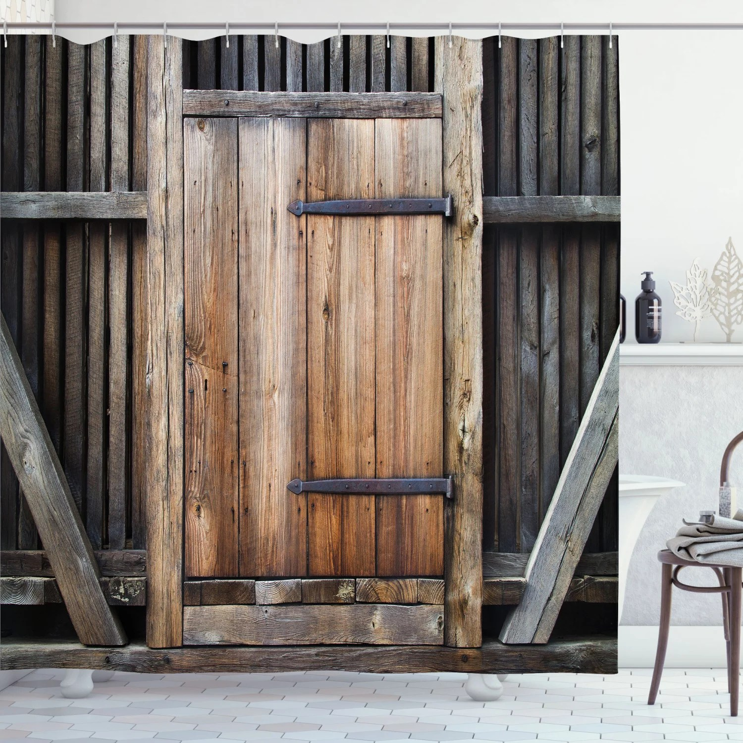 antique decor shower curtain set rustic antique wooden door exterior facades rural barn timber weathered bathroom accessories 69w x 70l inches by