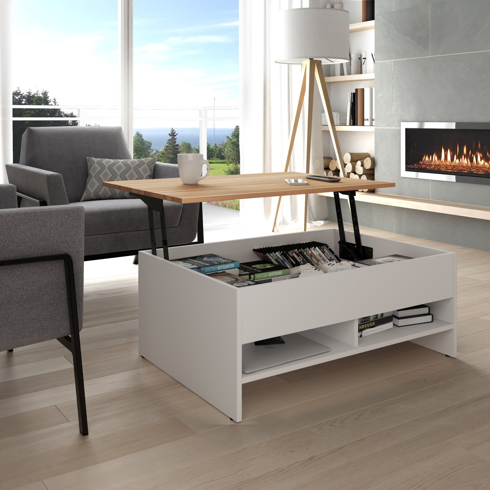 bestar small space storage coffee table with lift top walmart com
