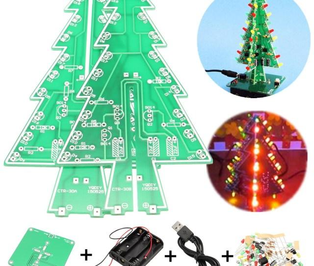 D Christmas Tree Led Flashing Light Diy Kit  Color Flash Circuit Led