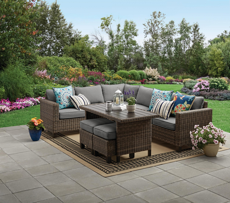 better homes gardens brookbury 5 piece patio wicker sectional set walmart com