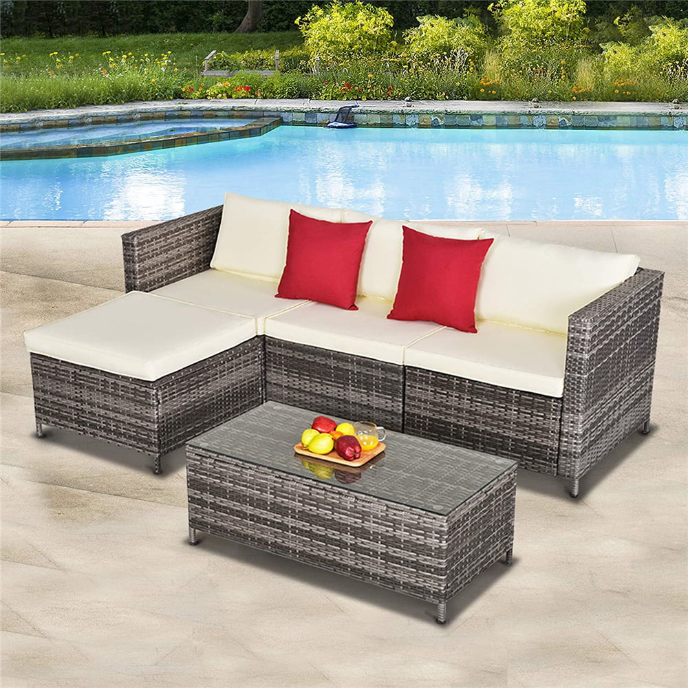 5 pieces outdoor patio furniture set all weather outdoor small sectional patio sofa set wicker rattan patio sofa couch conversation set with ottoman