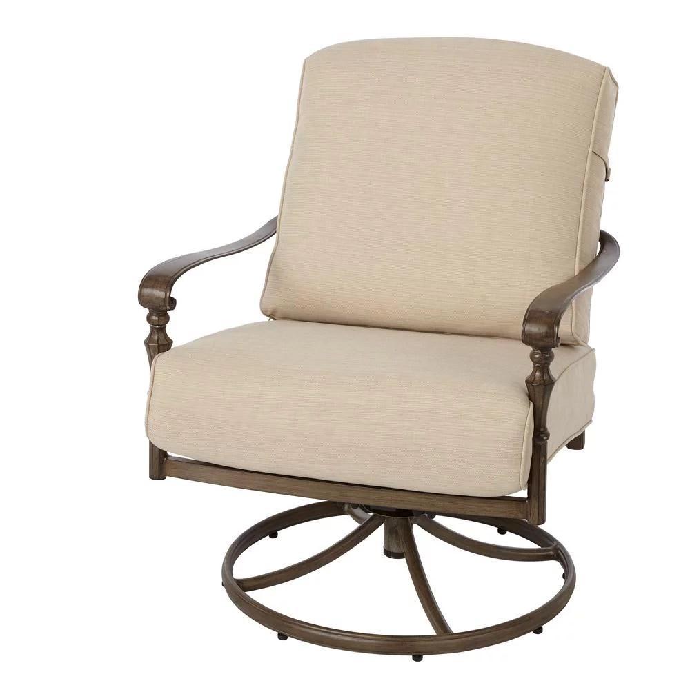 hampton bay 171 410 srl1 cavasso swivel rocking metal outdoor lounge chair with oatmeal cushion walmart com