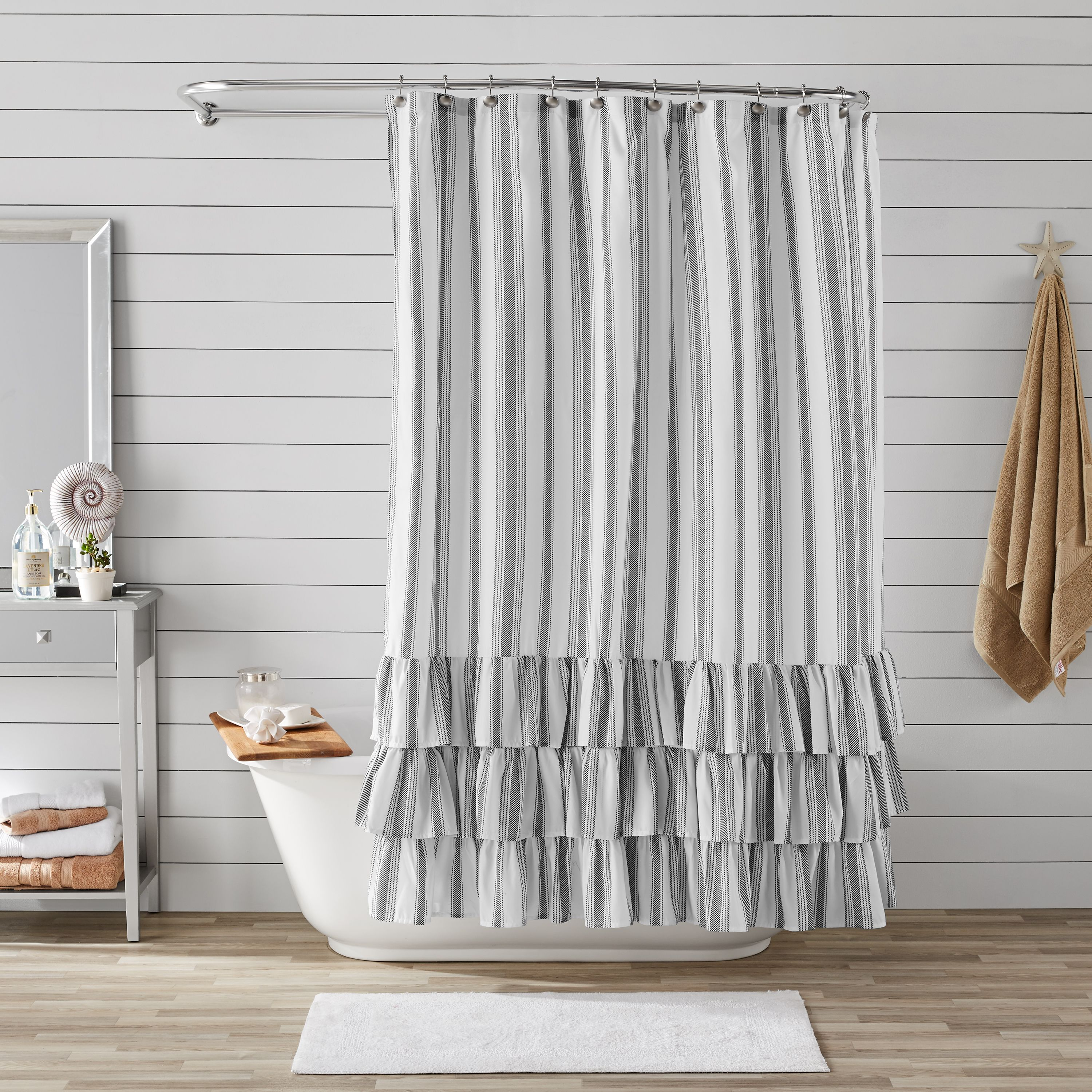 better homes gardens striped ruffle printed polyester microfiber fabric shower curtain ruffled tiered border dark charcoal and white vertical