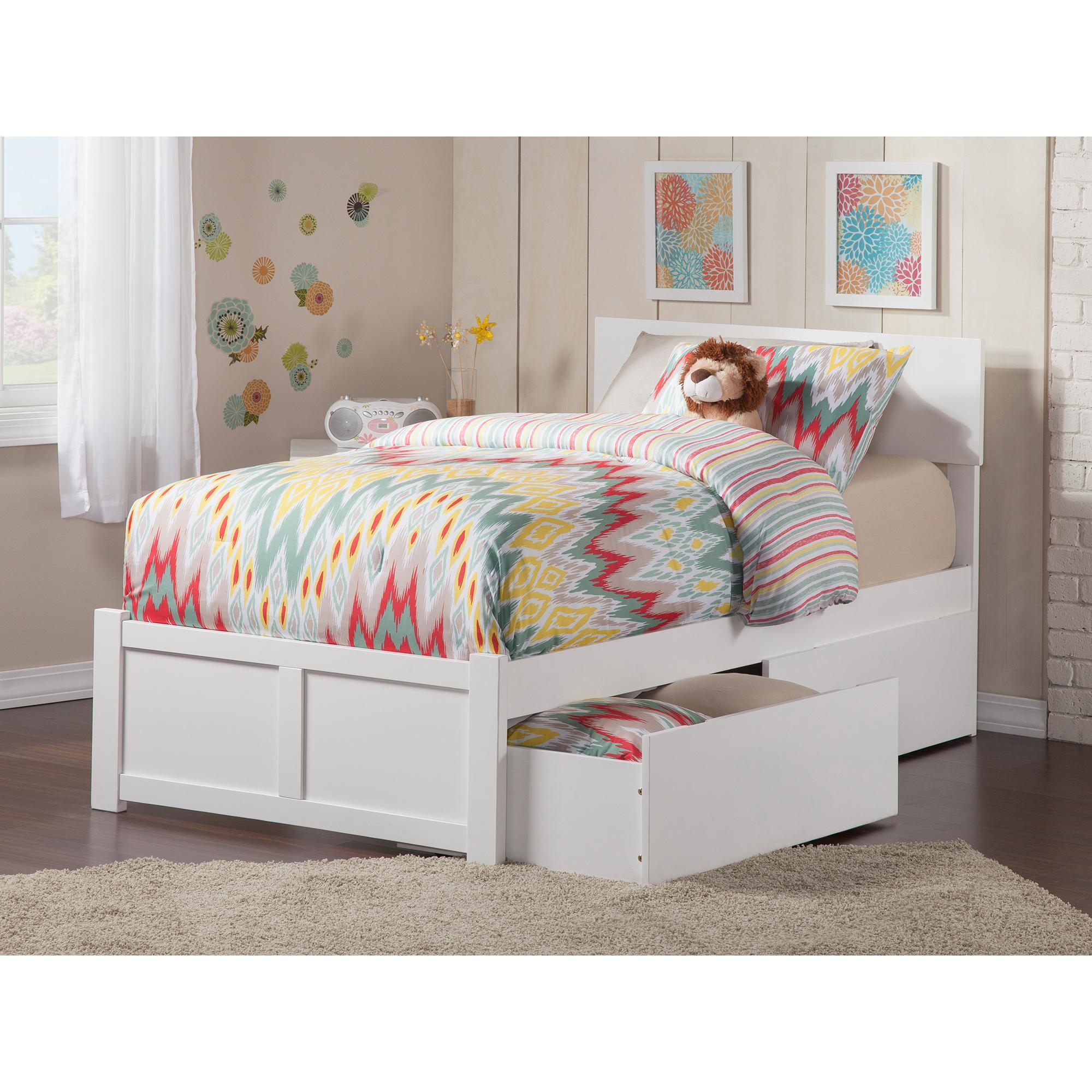 Eco Friendly Twin Xl Bed In White Finish Atlantic Furniture 77 In Home Kitchen Kids Furniture