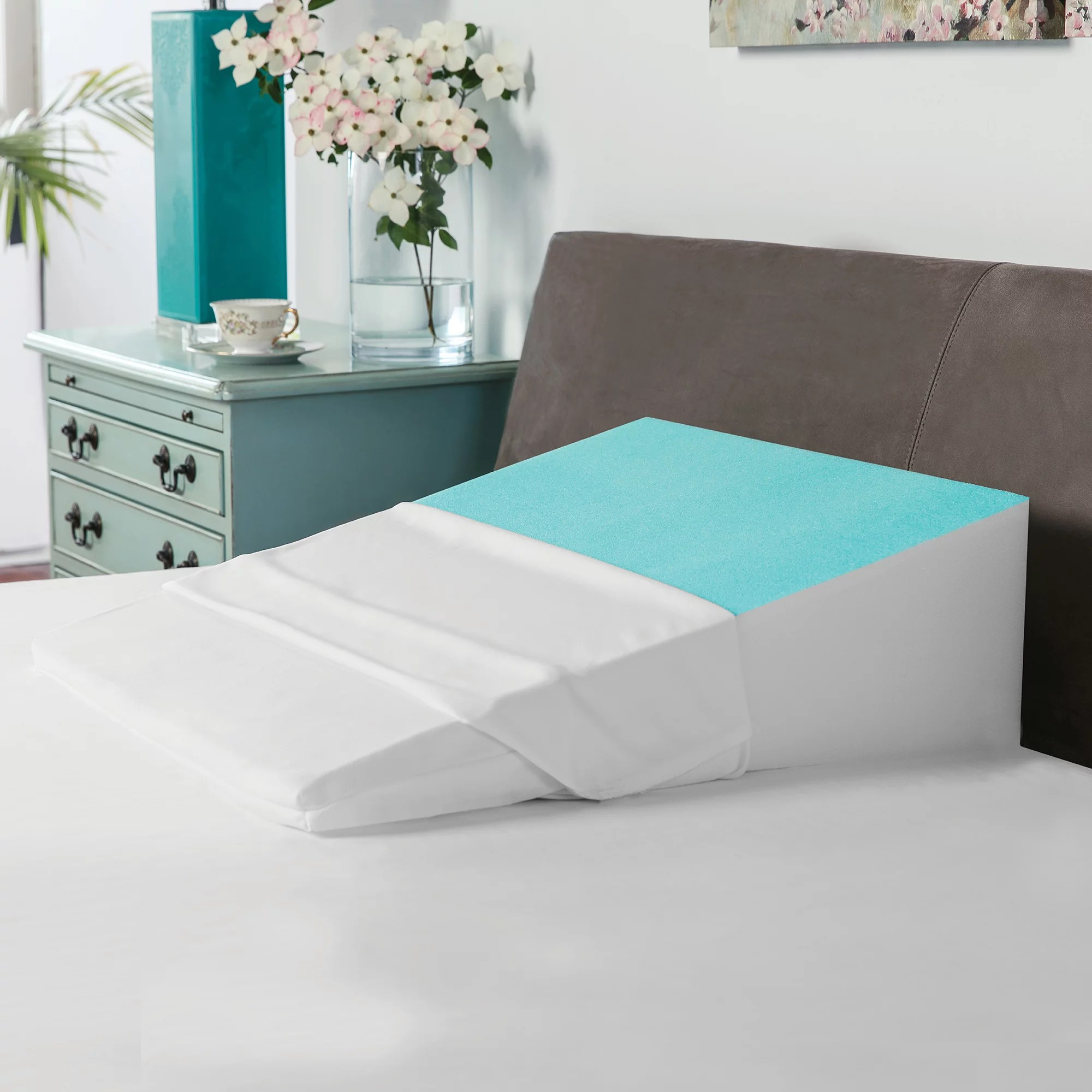 acid reflux bed wedge by hermell products includes white quilted cover fw4060mo