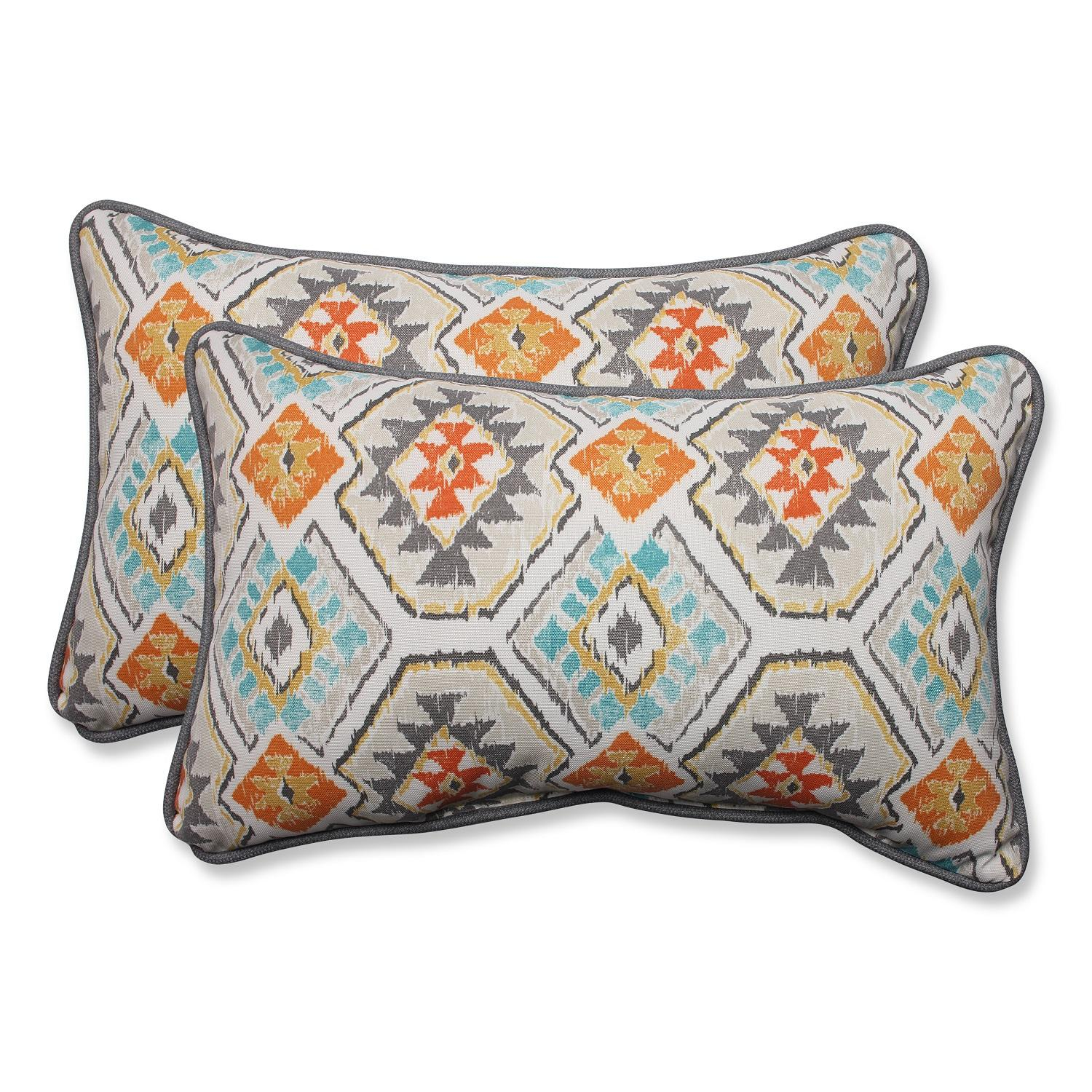 set of 2 blue and orange southwest oasis outdoor corded throw pillows 18 5