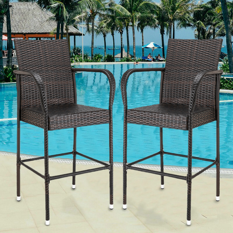 bar stools with back sets of 2 upgraded outdoor patio furniture wicker bar stool chairs rattan barstool chair with armrest and footrest bar height