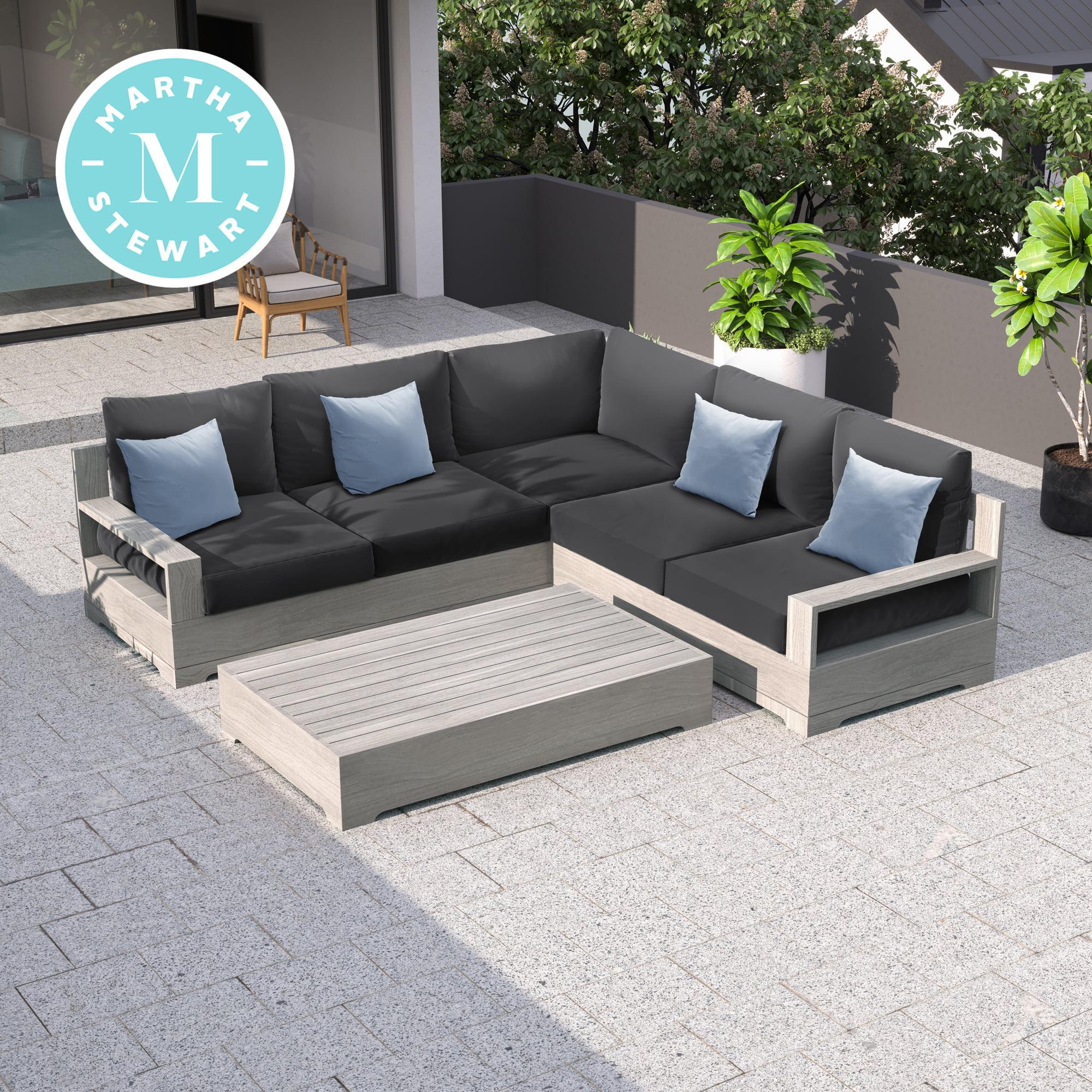 martha stewart hillcrest 3 piece wood frame grey patio sectional set walmart com