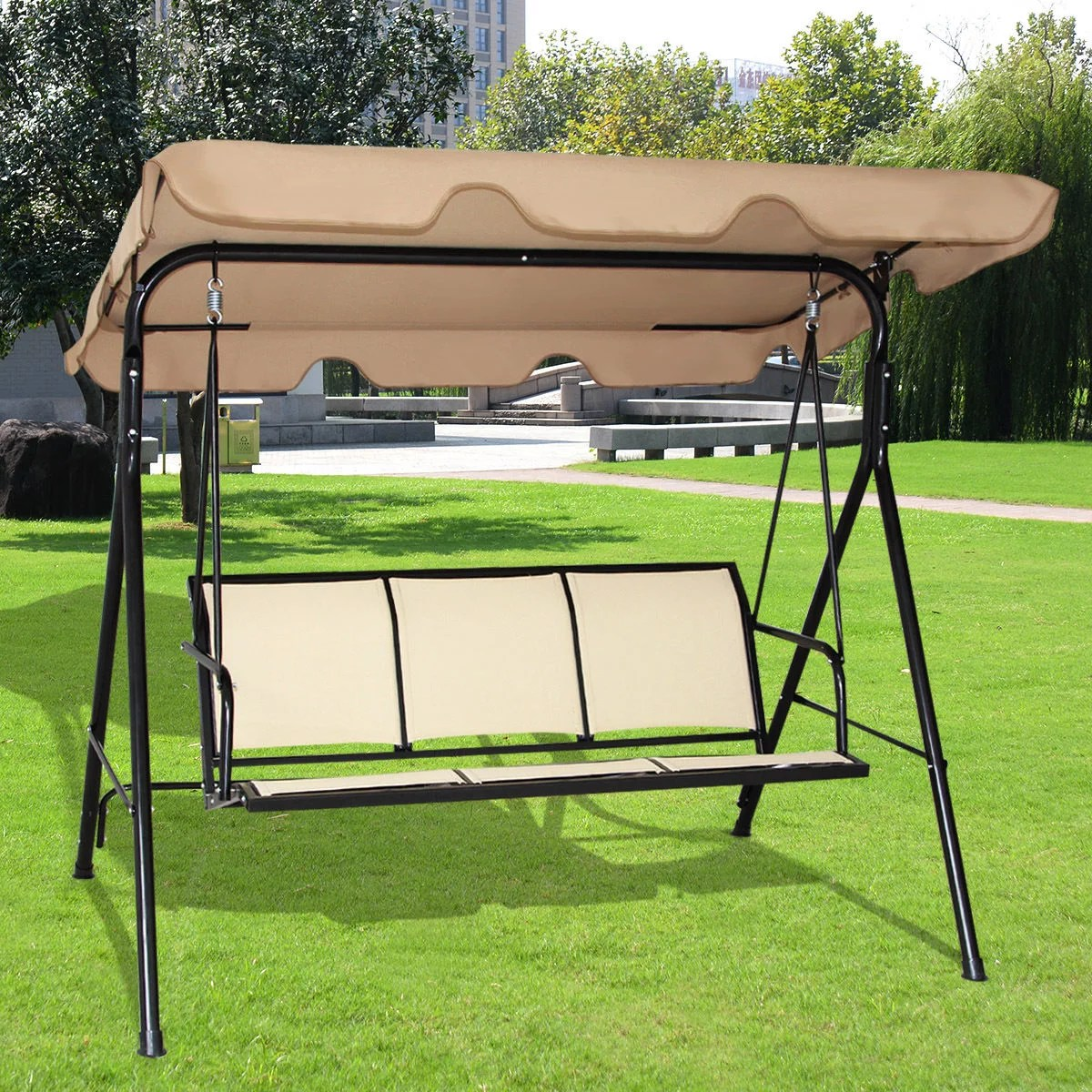 homyy 3 seater swing roof canopy chair