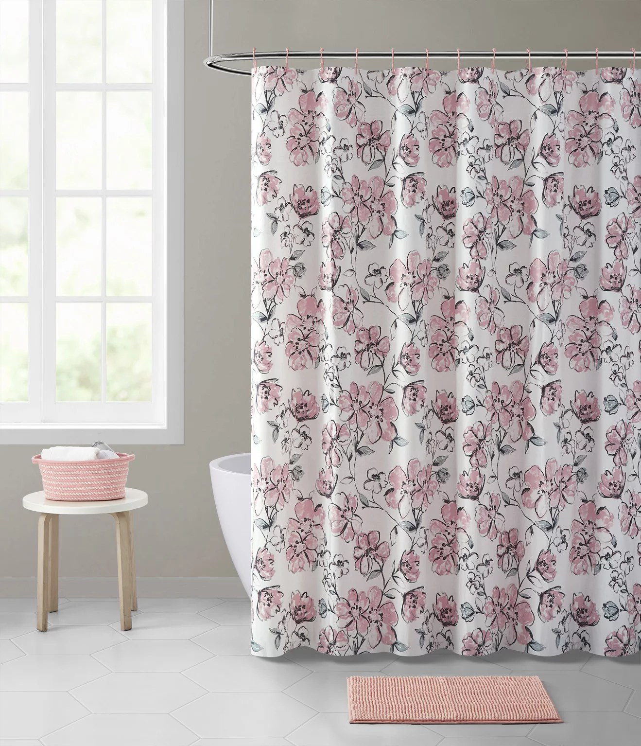 mainstays delilah peva shower curtain 15 piece set with hooks basket and rug