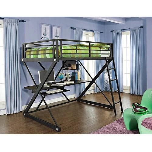 Powell Z Full Over Desk Metal Loft Bunk Bed Black