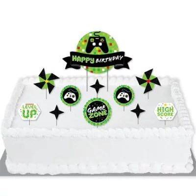 Game Zone Pixel Video Game Birthday Party Cake Decorating Kit Happy Birthday Cake Topper Set 11 Pieces Walmart Com Walmart Com