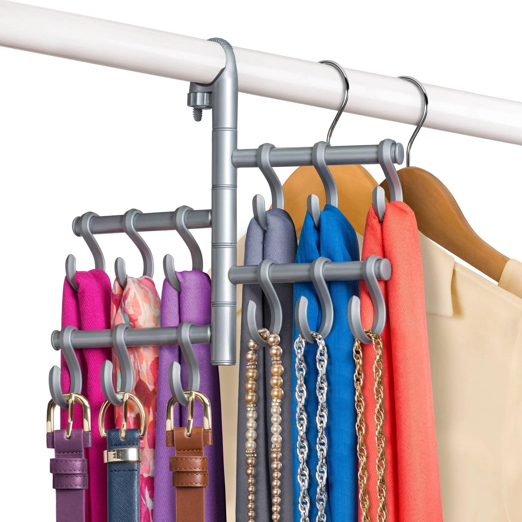 lynk hanging pivoting belt rack belt tie closet organizer platinum walmart com