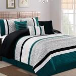 Hgmart Bedding Comforter Set Bed In A Bag 7 Piece Luxury Striped Microfiber Bedding Sets Oversized Bedroom Comforters California King Teal Walmart Com Walmart Com