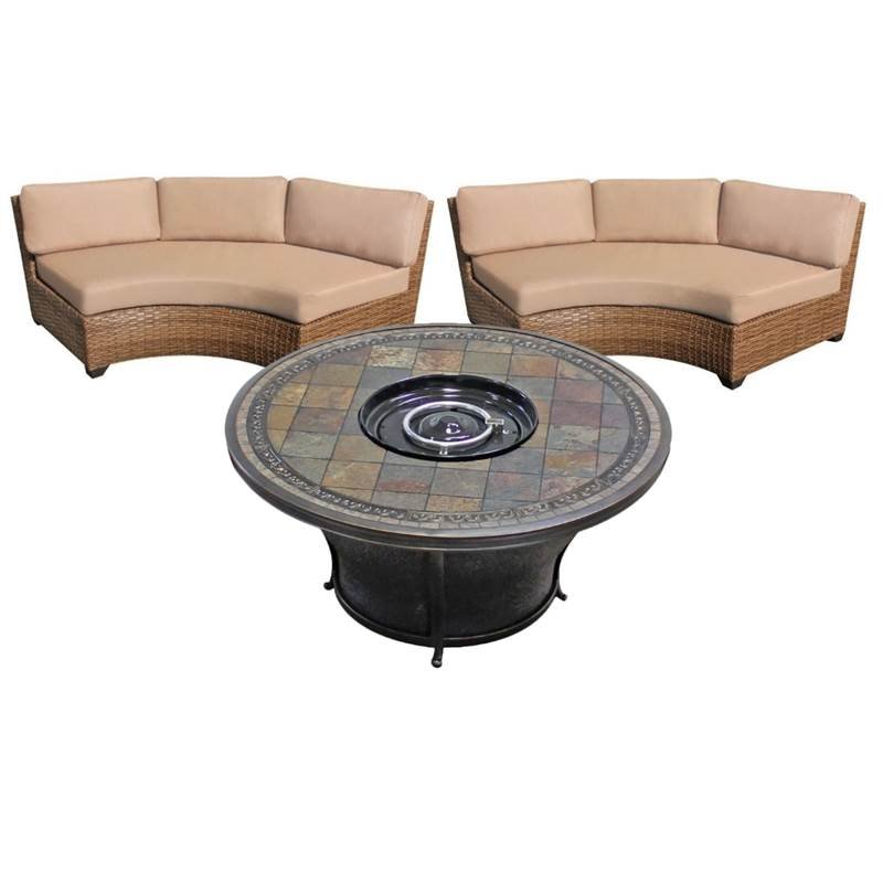 3 piece patio furniture set with 48 round gas fire pit table and 2 laguna curved outdoor wicker chairs in wheat
