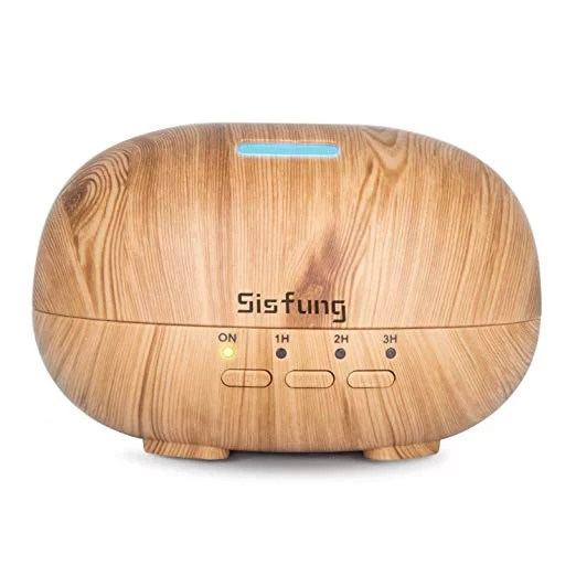 Essential Oil Diffuser - 300mL Ultra Quiet Wood Grain Aromatherapy Diffuser - Ultrasonic Cool Mist, Waterless Auto Shut-off, 7 Color LED