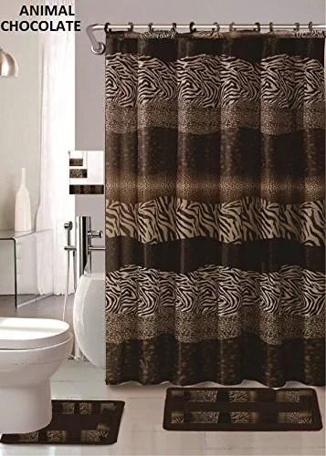 af 18 piece bath rug set leopard brown bathroom rugs zebra shower curtain mat rings towel set animal coffee