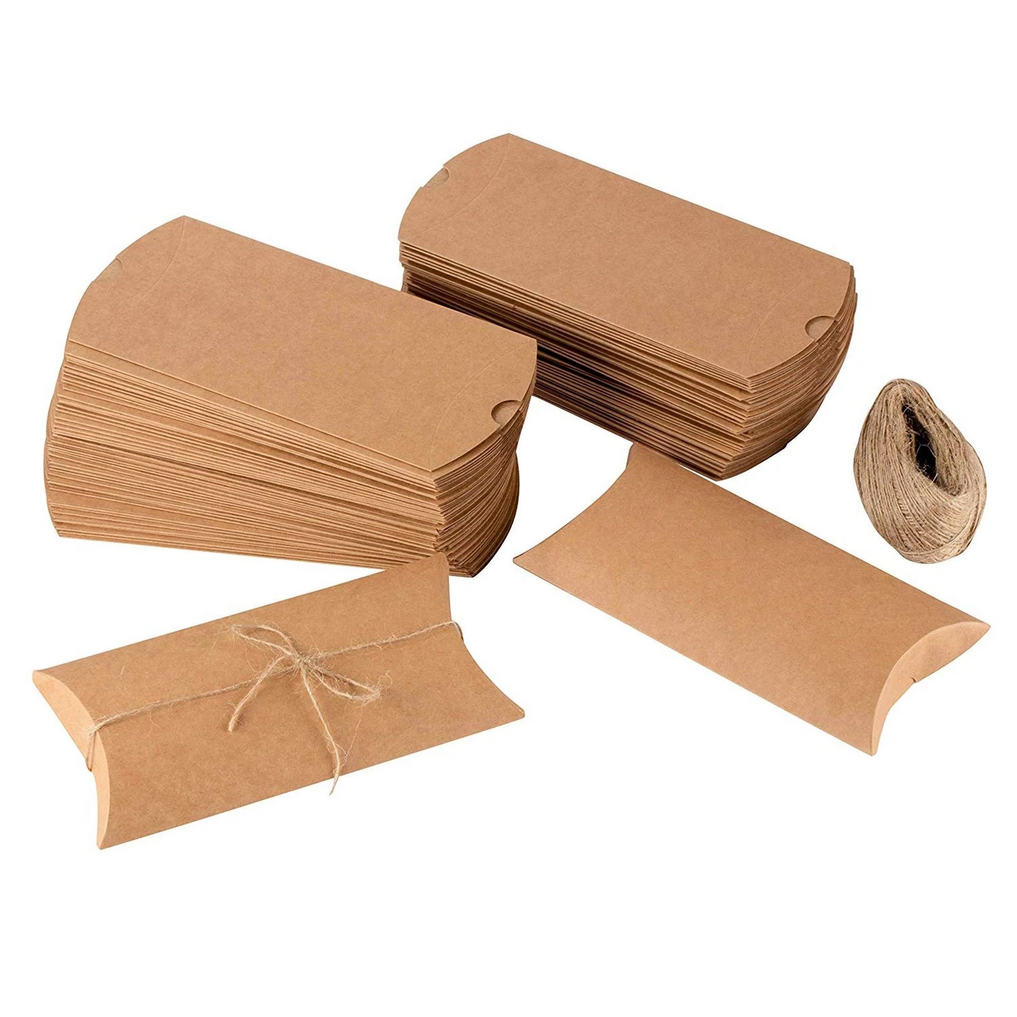 pillow boxes 100 pack kraft paper gift boxes party favor boxes for jewelry candy small note card jute twine included brown 7 5 x 3 7 x 1 2