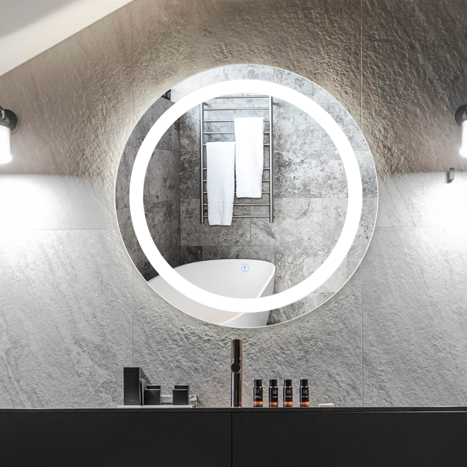 2 silver round wall mirror with built in smart led lighting touch control dimming glass aluminum alloy metal