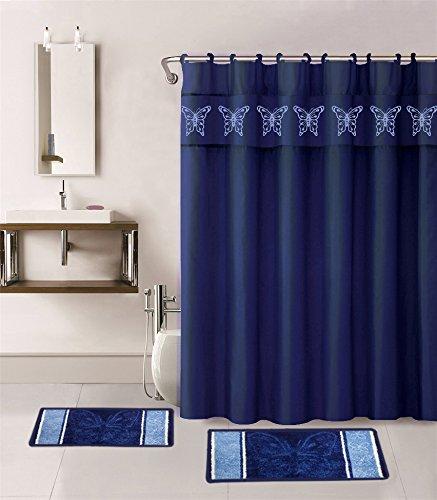 15 piece hotel bathroom sets 2 non slip bath mats rugs fabric shower curtain 12 hooks butterfly navy