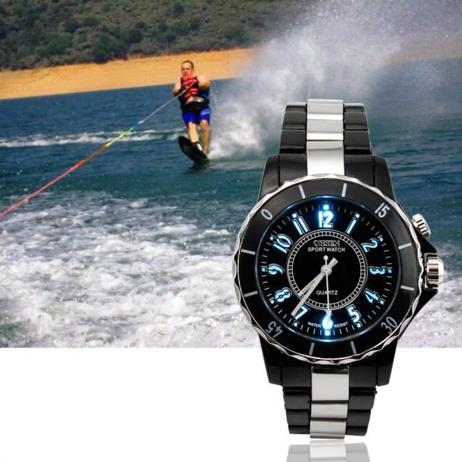 Fashion Men Boy Shockproof Stopwatch Date Waterproof 30m Analog Quartz Rubber Sports wrist Watch with LED Backlight