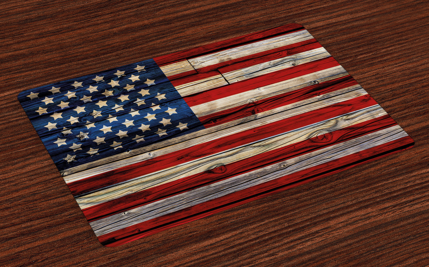 4th of July wooden planks placemats by Ambesonne