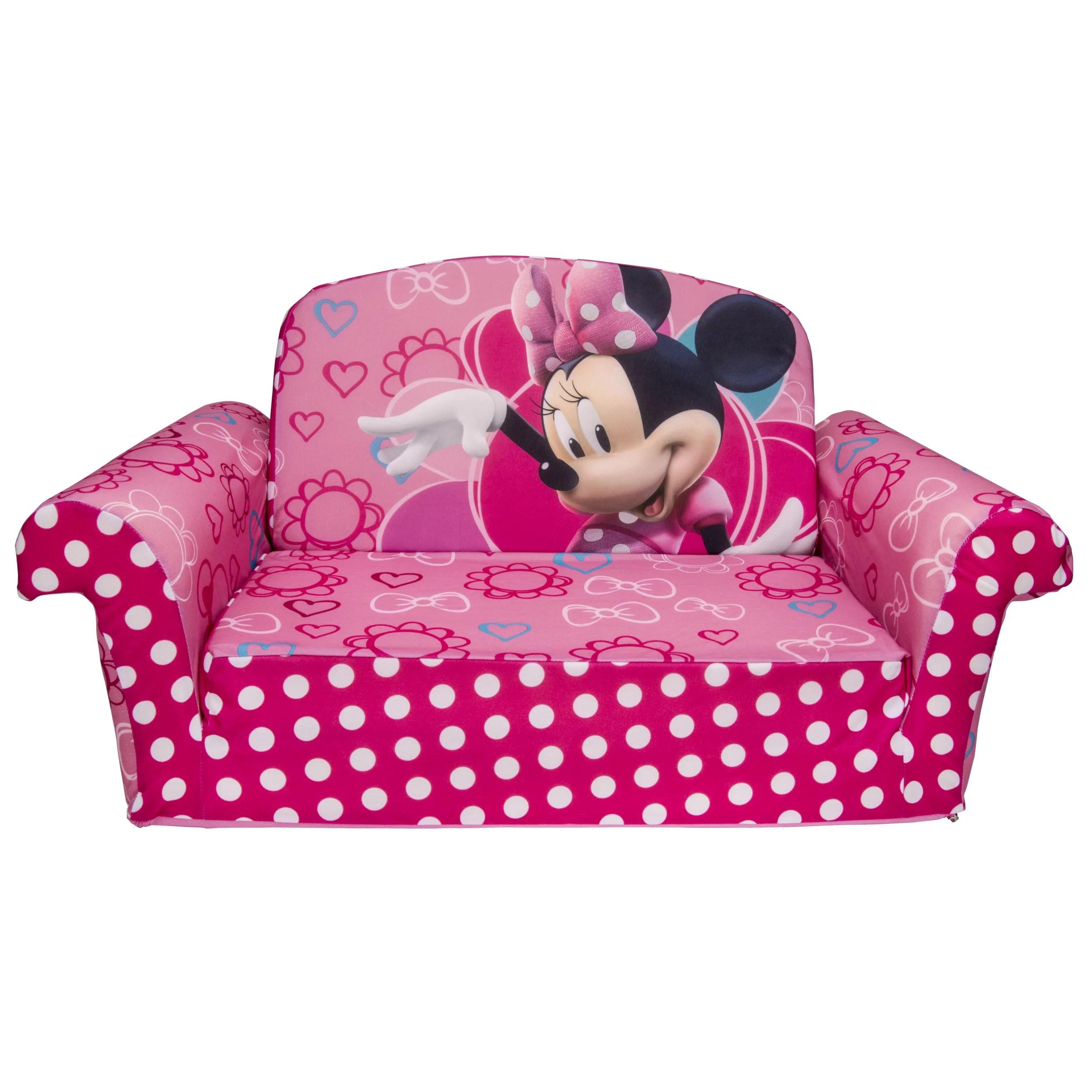 marshmallow furniture children s 2 in 1 flip open foam sofa disney minnie s bow tique by spin master walmart com
