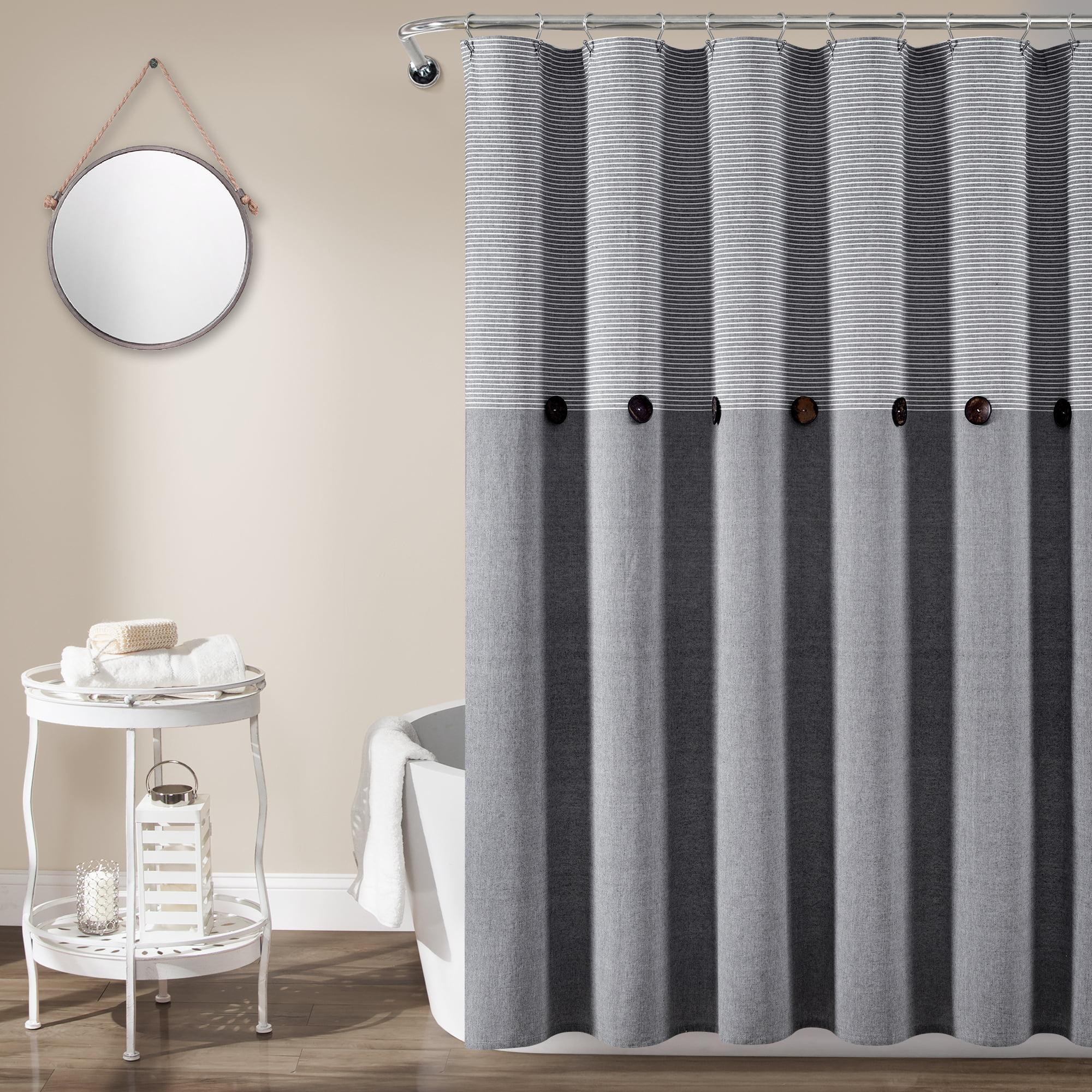 lush decor farmhouse button stripe yarn dyed woven cotton shower curtain 72x72 gray single walmart com