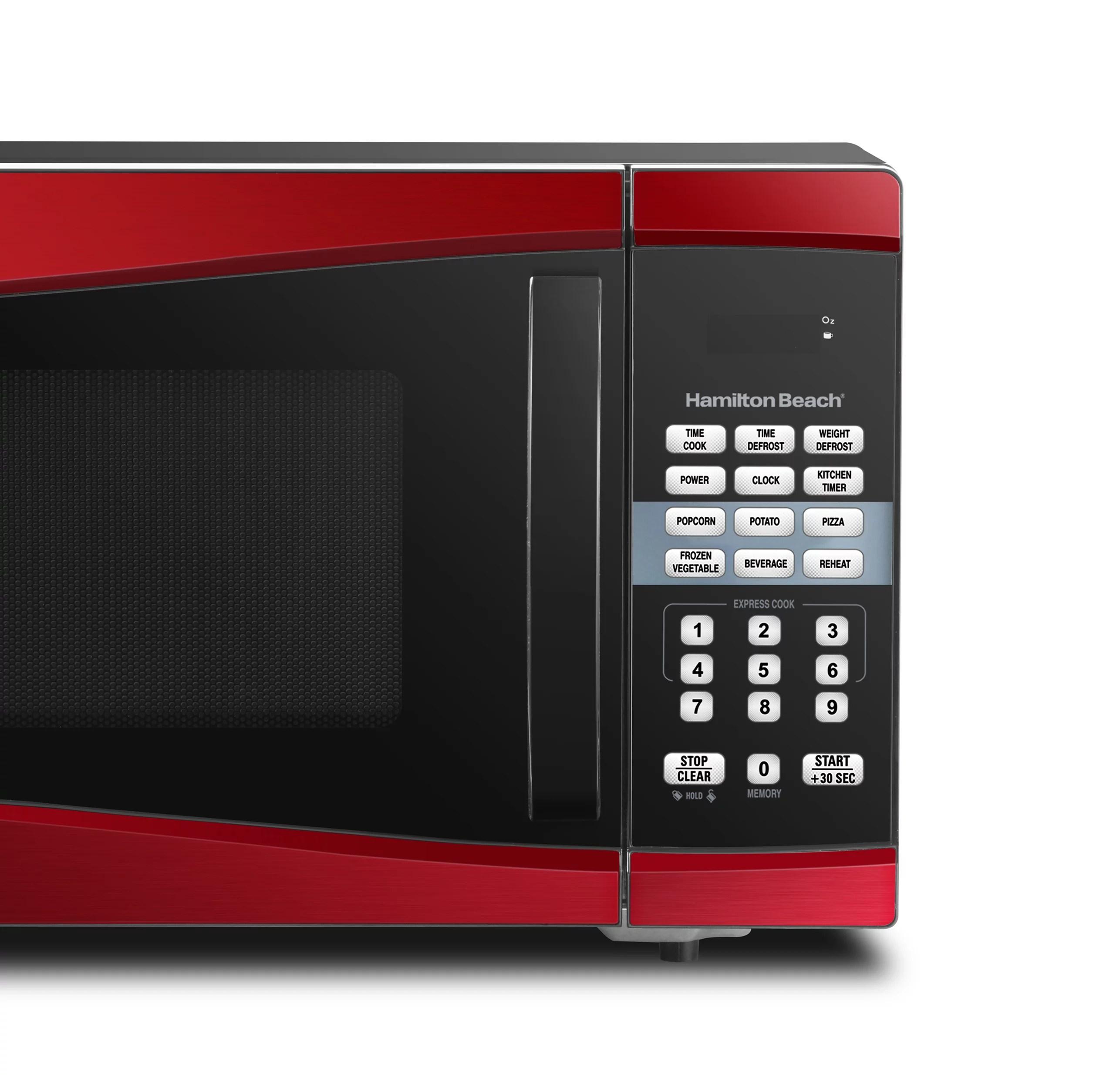 hamilton beach 0 9 cu ft 900w red microwave