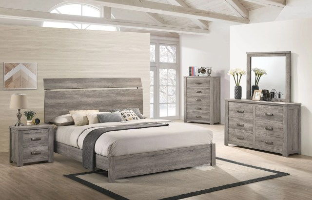 Floren Contemporary Weathered Gray Wood Bedroom Set, King ...