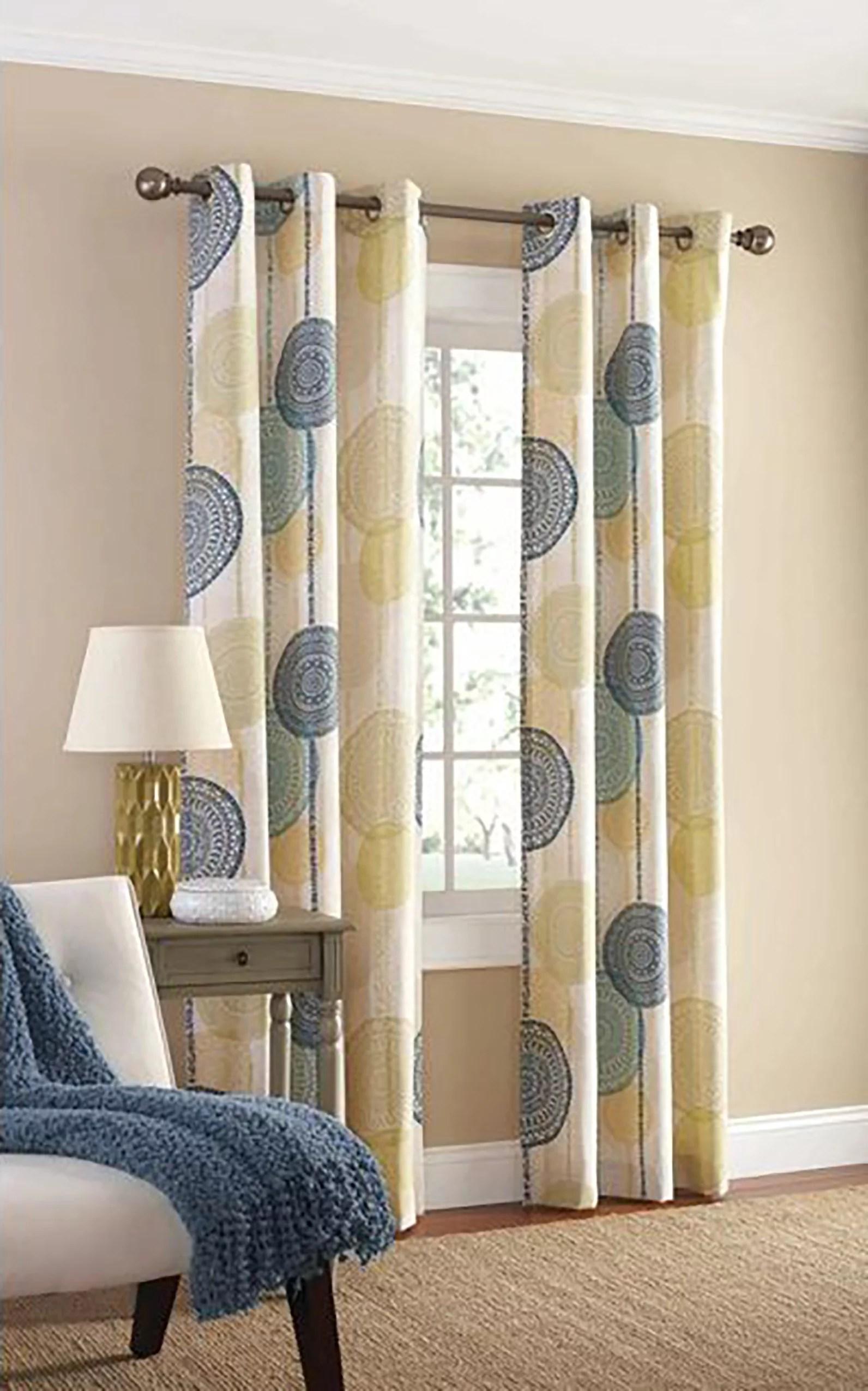 mainstays hanging medallion light filtering grommet curtain panel pair set of 2 blue 40 x 84