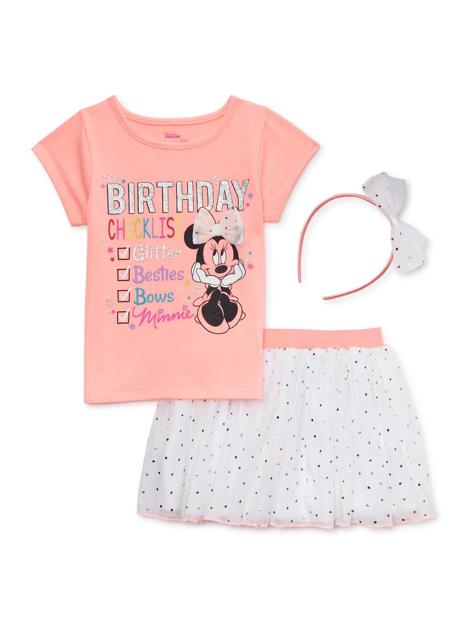 Minnie Mouse Minnie Mouse Baby Toddler Girl Birthday T Shirt Skirt Headband 3pc Outfit Set Walmart Com Walmart Com