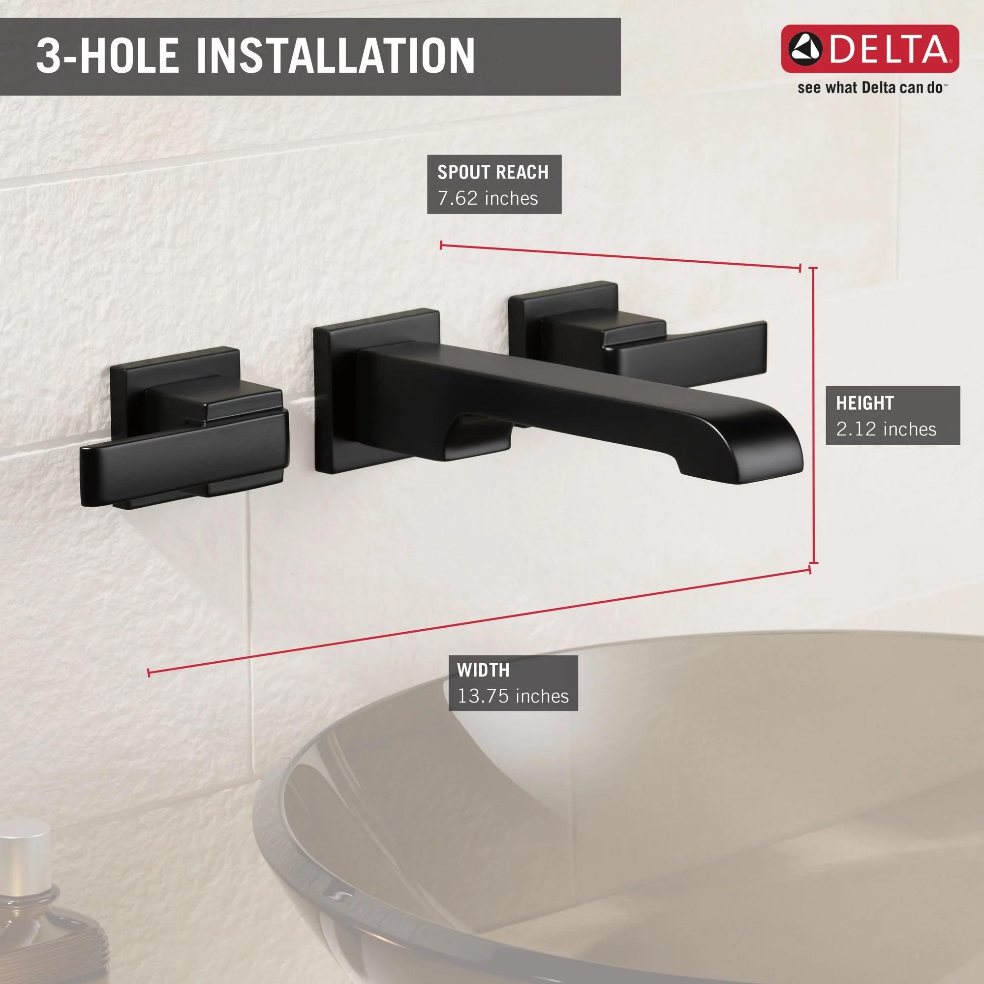 delta ara two handle wall mount bathroom faucet trim in matte black valve not included t3567lf blwl walmart com walmart com